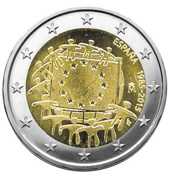 2 EURO COMMEMORATIVE 2015 : ESPAGNE (30E ANNIVERSAIRE DU DRAPEAU EUROPEEN)