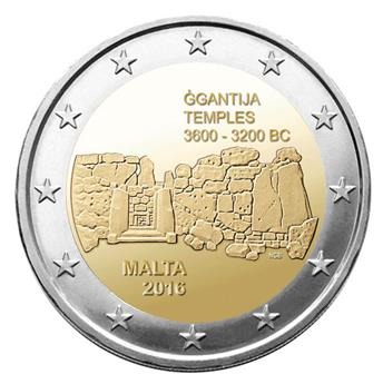 2 EUROS COMMEMORATIFS 2016 : MALTE (Temples Ggantija)