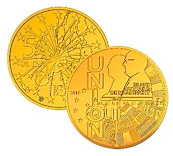 BE : 5 EUROS OR - TRAITE DE MAASTRICHT