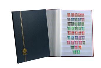 PERFECTA : Classeur fixe pour timbres (Grand modèle-Pages Blanches-32p. Bleu)