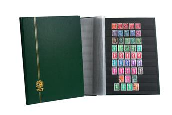 PERFECTA : Classeur fixe pour timbres (Grand modèle-Pages Noires-64p. Bleu)