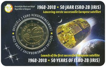 2 EURO COMMEMORATIVE 2018 : BELGIQUE - 50 ans Satellite Esro (Version flamande)