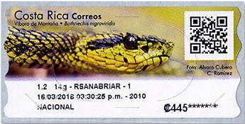 n° 16 - Timbre COSTA RICA Timbres de distributeurs
