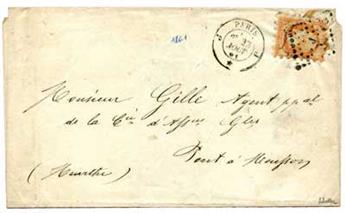 n°23 obl. sur lettre - Timbre France Poste