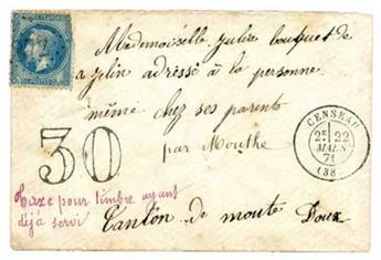 n°29B obl. sur lettre - Timbre France Poste