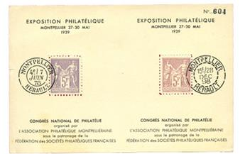 France : Expo philatélique Montpellier 1939