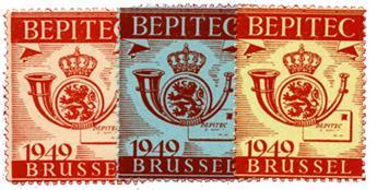 BELGIQUE : Exposition philatélique Brussel 1949 BEPITEC (3 valeurs**)