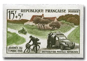 n° 1151a (ND) - Timbre France Poste (Non dentelé)