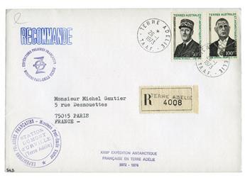 n° 46/47 obl. sur lettre -  Timbre TAAF Poste