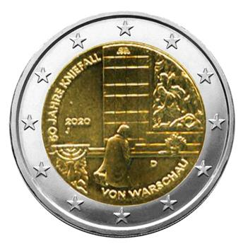 2 EURO COMMEMORATIVE 2020 : ALLEMAGNE (Génuflexion de Willy Brandt à Varsovie)
