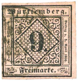 n°4 obl. - Timbre ALLEMAGNE WURTEMBERG Poste