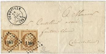 France : n°9 obl. sur lettre