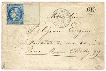 n°46B obl. TB sur lettre - Timbre FRANCE Poste