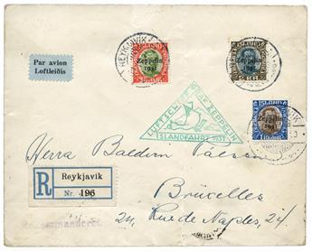 n°9/11 obl. sur lettre - Timbre ISLANDE Poste Aérienne