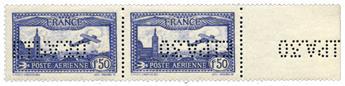 n° 6c - Timbre France Poste aérienne (Bord de Feuille / Surcharge miroir)