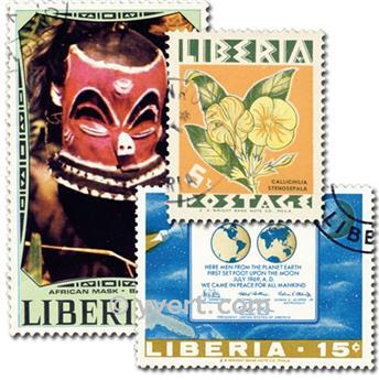 LIBERIA : pochette de 300 timbres