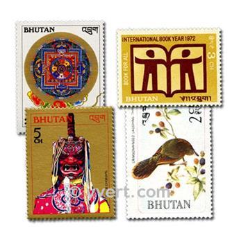 BHOUTAN : pochette de 100 timbres