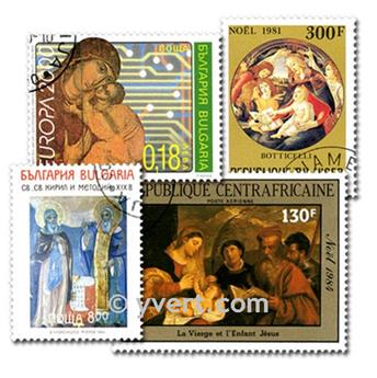 RELIGION: envelope of 300 stamps
