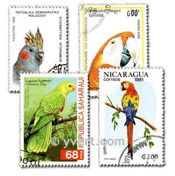 PERROQUETS : pochette de 50 timbres