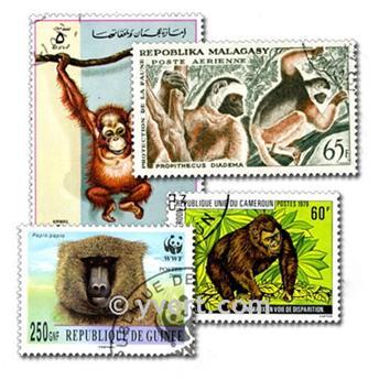 MONKEYS: envelope of 50 stamps