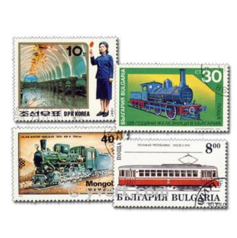 TRAINS: envelope of 800 stamps