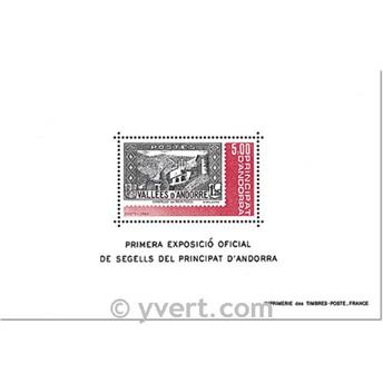 n° 1 -  Timbre Andorre Bloc et feuillets