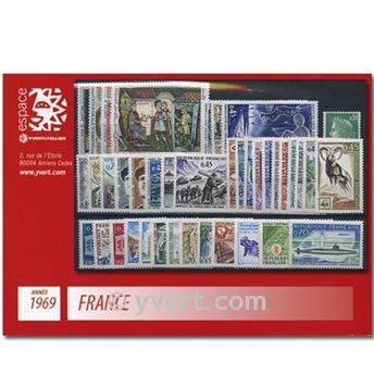 n° 1582/1620  - Selo França Ano completo  (1969)