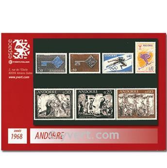 n° 187/193 -  Selo Andorra Ano completo (1968)