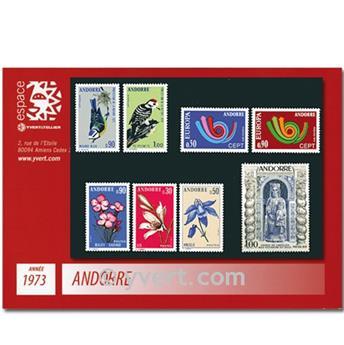 n° 226/233 -  Selo Andorra Ano completo (1973)
