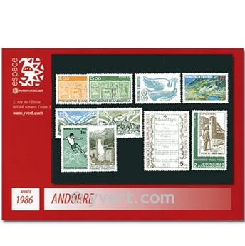 n° 345/354 -  Selo Andorra Ano completo (1986)