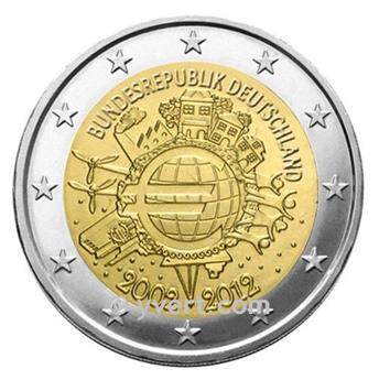 2 EUROS COMEMORATIVAS 2012: Alemanha (5 moedas - 10 ANOS DA UEM)
