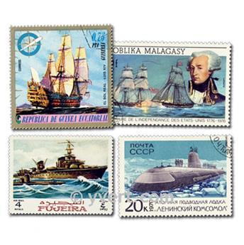 BUQUES DE GUERRA: lote de 25 sellos