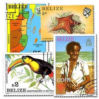 BELIZE: envelope of 100 stamps