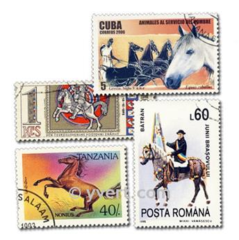 CHEVAUX : pochette de 100 timbres