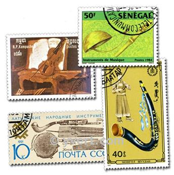 MUSICAL INSTRUMENTS: envelope of 50 stamps