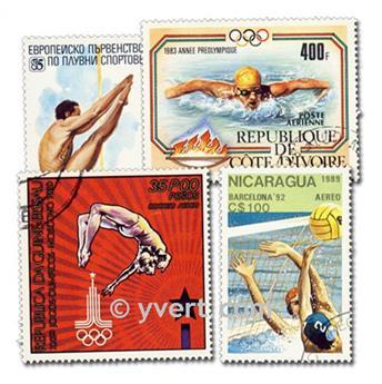 SWIMMING: envelope of 100 stamps