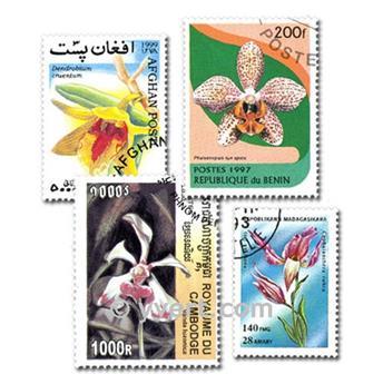 ORQUÍDEAS: lote de 100 selos