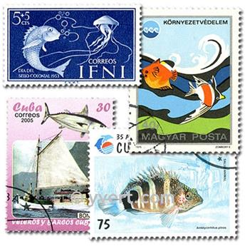 POISSONS : pochette de 500 timbres