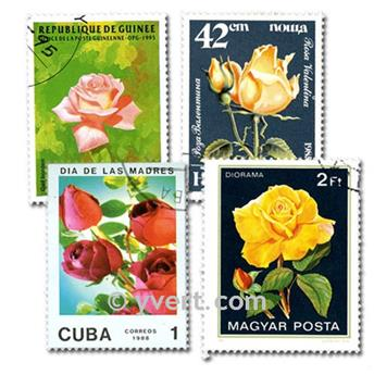 ROSES: envelope of 100 stamps