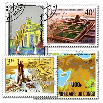 SEPT MERVEILLES DU MONDE : pochette de 25 timbres