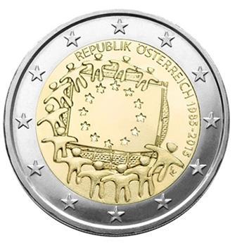 2 EURO COMMEMORATIVE 2015 : AUTRICHE (30E ANNIVERSAIRE DU DRAPEAU EUROPEEN)