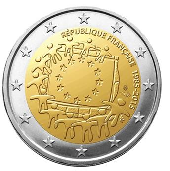 2 COMMEMORATIVE COIN 2015 : FRANCE (30th BIRTHDAY OF THE EUROPEAN FLAG)