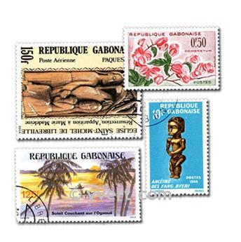 GABON : pochette de 100 timbres