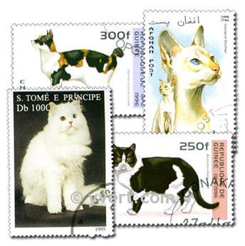 CHATS : pochette de 200 timbres