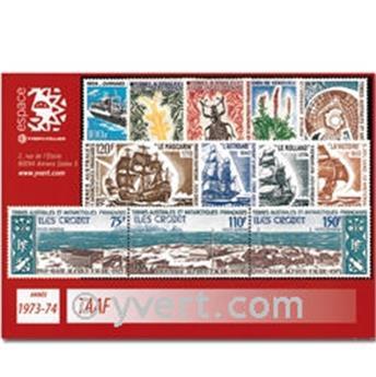 n° 48/54+PA29/37 -  Selo TAAF Ano completo (1973/74)